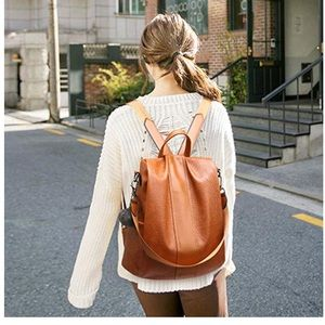 Bags - Light Brown Anti-Theft Backpack